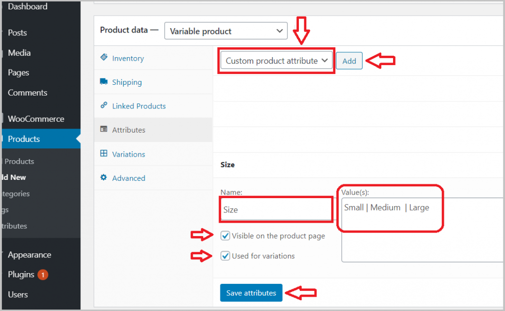 custom product attribute variable