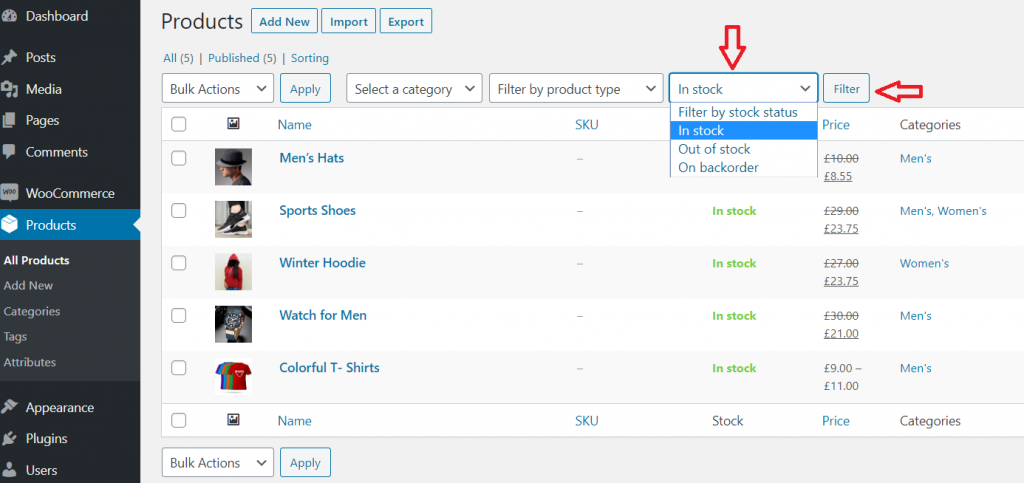 filter by stock status