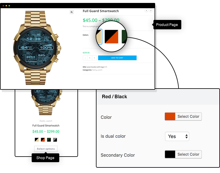 dual color WooCommerce variation swatches
