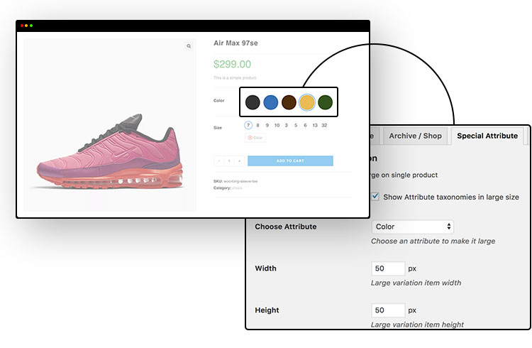 highlight special attribute for WooCommerce Variation Swatches