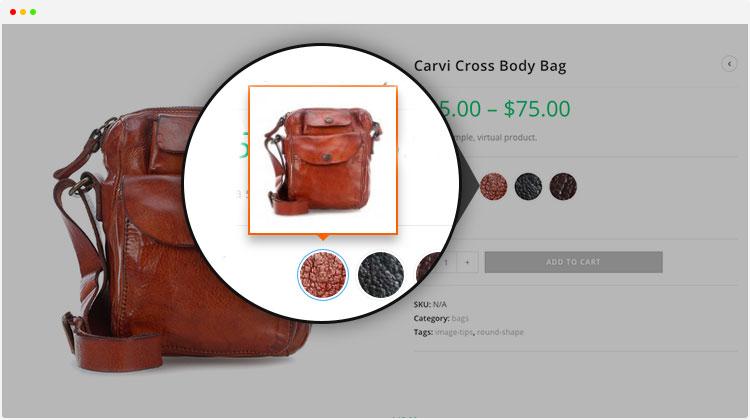 product page variation image tooltip