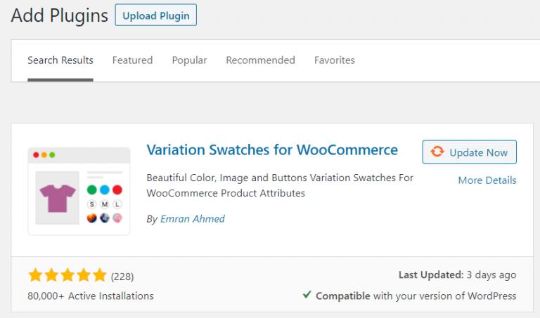 variation swatches plugin