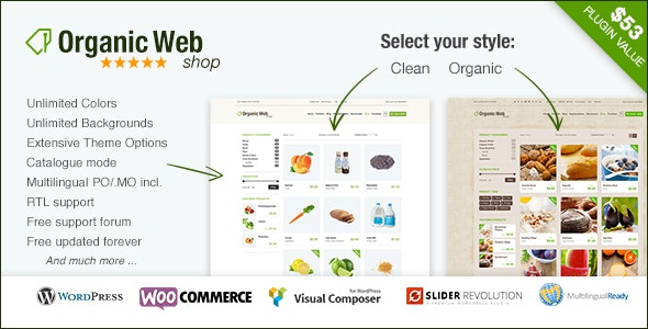 organic web shop WooCommerce