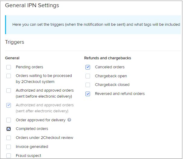 IPN settings for 2Checkout